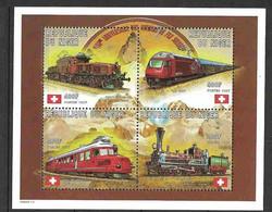 Niger 1997 Trains, Locomotives, Railway, Locomotives  - Railway Switzerland I  Mi 1343-1345 In Minisheet MNH(**) - Trains