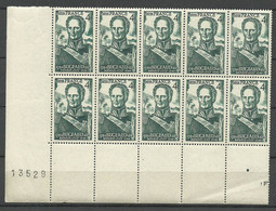 FRANCE 1944 Michel 638 As 10-block MNH With Order Number & Margin Fields - Unused Stamps