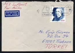 "Germany (BRD) Frankfurt 1990 ""750 JAHRE MESSEN IN FRANKFURT"" ATM Label Air Mail Cover Used To Turkey, Mi 1473 - Briefe U. Dokumente"