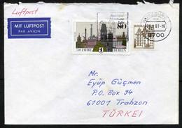 "Germany [Berlin] Würzburg 1987 ""Balthasar Neumann"" ATM Label, Air Mail Cover Used To Turkey | Mi 614A, 776 - Briefe U. Dokumente"