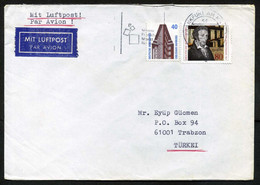 Germany (BRD) Frankfurt 1989, Air Mail Cover Used To Turkey | Mi 1377 Chemistry, Chemists: Leopold Gmelin - Briefe U. Dokumente
