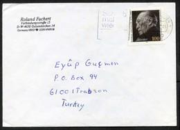 Germany (BRD) Gelsenkirchen 1992 Cover Used To Turkey | Mi 1601, Dr. Konrad Adenauer, Politicians - Briefe U. Dokumente