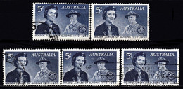 ! AUSTRALIA - Girl Guide & Lord Baden Powell / Lot Of 5 Used Stamps (k4972) - Used Stamps