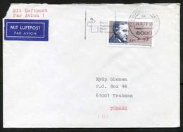 Germany [Berlin] Frankfurt 1989 Air Mail Cover Used To Turkey | Mi 851, Carl Von Ossietzky, Authors - Briefe U. Dokumente
