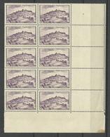 FRANCE 1946 Michel 756 As 10-block MNH With Order Number & Empty Margin Fields Vezelay - Ungebraucht