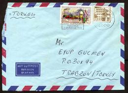 Germany (BRD) Düsseldorf,  Int. Messe Und Cong. 7-21 Febr. 86 ATM Label Airmail Cover Used To Turkey | Mi 1264 Railways - Briefe U. Dokumente