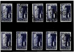 """ITALIA REPUBBLICA ,""""Tessile"""",10 Pezzi Usati ,selezionati ,qualita Ottima - 1946-60: Used"""