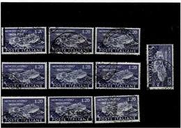 """ITALIA REPUBBLICA ,""""Monte Cassino"""",10 Pezzi Usati ,selezionati ,qualita Ottima - 1946-60: Used"""