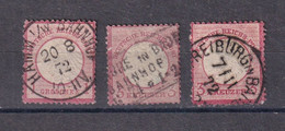 Deutsches Reich ,Brustschild ,1872  ,3x  ,Mi.Nr 9  Gestempelt, Katalog  60,- - Gebraucht