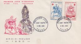 Enveloppe   FDC   1er  Jour    FRANCE    Paire   CROIX  ROUGE     TOURS    1960 - 1960-1969