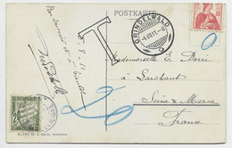 HELVETIA SUISSE 10C REPLIE  NEUF MENTION O SEUL CARTE GRINDELWALD TO FRANCE TAXE 20C LARCHART SEINE ET MARNE - Lettres & Documents