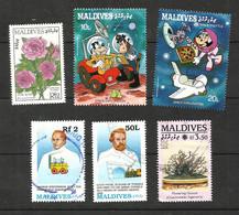 MALDIVES N°1112, 1150, 1151, 1220, 1241, 1314B Cote 4 Euros - Maldiven (1965-...)