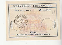 Coupon Réponse Franco-Colonial, Maroc /Zone Française Et Bureau Chérifien De Tanger, Casablanca, 1936 - Covers & Documents