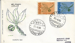 Fdc Filagrano: EUROPA (1965); Raccomandata; AS_Napoli - F.D.C.