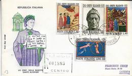 Fdc Filagrano: DANTE (1965); Raccomandata; AF_Firenze - F.D.C.