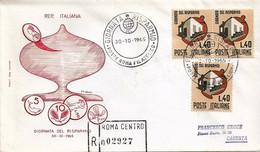 Fdc Filagrano: GIORNATA DEL RISPARMIO (1965); Raccomandata; AS_Roma - F.D.C.