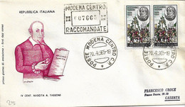 Fdc Filagrano: TASSONI (1965); Raccomandata; A_Modena - F.D.C.