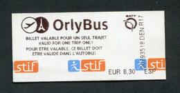 """Ticket De Bus Parisien """"OrlyBus"""" - Paris -> Orly Aéroport - Europe"""