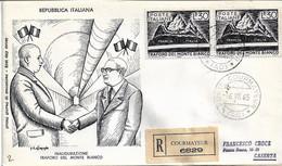Fdc Filagrano: TRAFORO MONTE BIANCO (1965); Raccomandata; A_Courmayer - F.D.C.