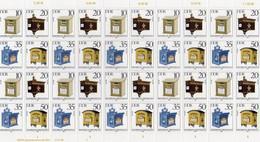 """DDR, 1985, Michel 2924/27, ZD-Bogen/10 Zusammendrucke, """"Historische Briefkästen"""" - Zusammendrucke"""