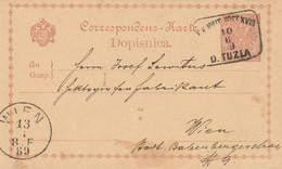 Bosnie Entier Postal D. Tuzla Pour L'Autriche 1889 - Bosnia And Herzegovina