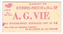 FRANCE CARNET N° 1263-C1 ** Série 02-63. 0,25 Marianne De Decaris (II). Pub A.G.VIE.  Cote YT 50 € - Freimarke