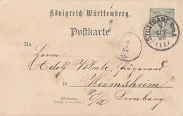 Württemberg Ganzsache PP11 Gruß Aus Dem Gewerbedorf Stuttgart 5.9.1896 - Wuerttemberg