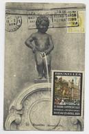 BELGIQUE 1FR CARTE BRUXELLES 1928  VIGNETTE JAUNE FOIRE COMMERCIALE POUR CHERBOURG MANCHE - Covers & Documents
