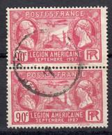France 1927 Yvert 244 Paire Oblitéré. Visite De La Légion Américaine - Gebraucht
