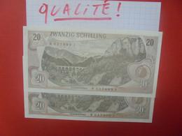 AUTRICHE 20 SCHILLING 1967 (2 NUMEROS SE SUIVANTS) Neuf-UNC (B.25/2) - Austria