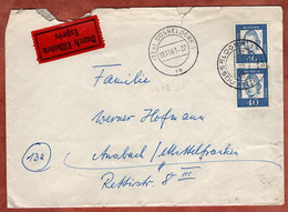 Eilboten Expres, Lessing Ohne Fluoreszenz, Duesseldorf Nach Ansbach 1961 (5404) - Briefe U. Dokumente