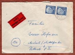 Eilboten Expres, Heuss, Lintorf Bei Duesseldorf Nach Ansbach 1961 (5405) - Briefe U. Dokumente