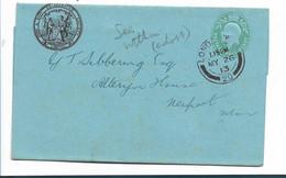 GBE045 / GRSSBRITANNIEN - Brief-Ganzsache Army/Navy Society. Empfangsbestätigung London 1913, Bild Innenseite - Covers & Documents