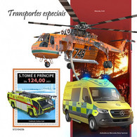 S. TOME & PRINCIPE 2021 - Special Transport, Firefighting S/S. Official Issue [ST210423b] - Firemen