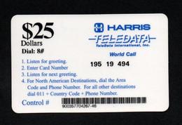 "TELEDATA ""HARRIS $25"" - Carte Plastifiée Format TC - Army"