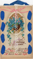 BEST BIRTHDAY WISHES OLD COLOUR  POSTCARD BLUE RIBBON AND HANGER - Cumpleaños