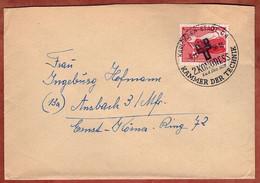 Brief, Volkskampf Gegen Atomtod, SoSt Kammer Der Technik Karl-Marx-Stadt, Nach Ansbach 1958 (5407) - Briefe U. Dokumente