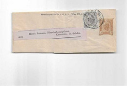 Streifbandnach Kattowitz 1908 ( Heute Polen ) - Covers & Documents