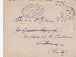 """1941 Lettre En FM Cachet """" REGIMENT DE SAPEURS-POMPIERS DE PARIS 27è Compagnie"""" Obl BOIS COLOMBE SEINE - Firemen"""