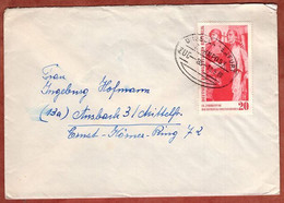 Brief, Befreiung Vom Faschismus, Per Bahnpost Dresden-Erfurt, Karl-Marx-Stadt Nach Ansbach 1960 (5409) - Briefe U. Dokumente