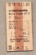X3] BRD - Pappfahrkarte -- Berlin Stadtb -  Schnellzugzuschlag - 1966 - Europe