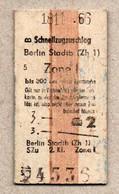 X3] BRD - Pappfahrkarte -- Stadtb Berlin Zone I -  Schnellzugzuschlag - 1966 - Europe