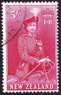 NEW ZEALAND 1954 QEII 5/- Carmine SG735 FU - Used Stamps
