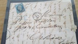 LOT561426 TIMBRE DE FRANCE OBLITERE  POINTILLE SUR ENVELOPPE - 1853-1860 Napoléon III.