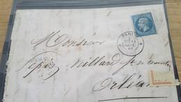 LOT561427 TIMBRE DE FRANCE OBLITERE  POINTILLE SUR ENVELOPPE - 1853-1860 Napoléon III.