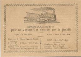 INDICATIONS  POUR  LES  VOYAGEURS  SE  DIRIGEANT  VERS  LE  PARADIS  /  Dessin : Train - Andere