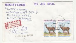 Pakistan Letter Cover Posted Registered 198? Camp P.O. P-288 To Germany - Einschreiben Aus Dem Ausland Sticker B211015 - Pakistan