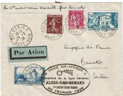 CTN74 - FRANCE -  REGIE AIR AFRIQUE LIGNE ALGER/GAO/BAMAKO FEVRIER 1938 - Luftpost