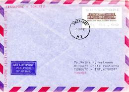 SINGAPOUR. Enveloppe Commémorative Ayant Circulé En 1991. Vol Singapour-Toronto. - Flugzeuge