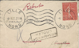 """1921- Enveloppe Carte De Visite Affr. 50 C De LILLE Avec Retour   -au Dos """" INCONNU A L'APPEL / DES FACTEURS  """" De Metz - 1801-1848: Vorläufer XIX"""